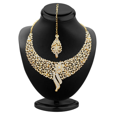 Sukkhi Sleek Gold plated AD Stone Necklace Set-1