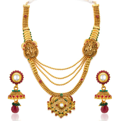 Sukkhi Astonishing Gold Plated Temple Jewellery  4 String Necklace Set for Women-3