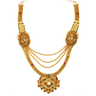 Sukkhi Astonishing Gold Plated Temple Jewellery  4 String Necklace Set for Women-4