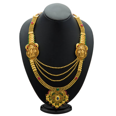 Sukkhi Astonishing Gold Plated Temple Jewellery  4 String Necklace Set for Women-1