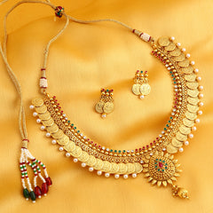 0021 Sukkhi Eye-Catchy Gold Plated Temple Jewellery Coin Necklace Set for Women