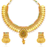 Sukkhi Eye-Catchy Gold Plated Temple Jewellery Coin Necklace Set for Women-3