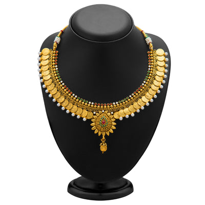 Sukkhi Eye-Catchy Gold Plated Temple Jewellery Coin Necklace Set for Women-1