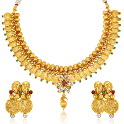 Sukkhi Ravishing Gold Plated  Temple Jewellery Coin Necklace Set for Women-3
