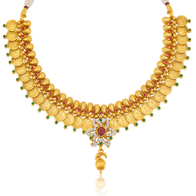 Sukkhi Ravishing Gold Plated  Temple Jewellery Coin Necklace Set for Women-4
