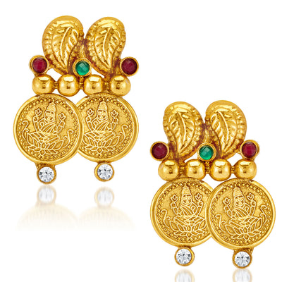 Sukkhi Ravishing Gold Plated  Temple Jewellery Coin Necklace Set for Women-5