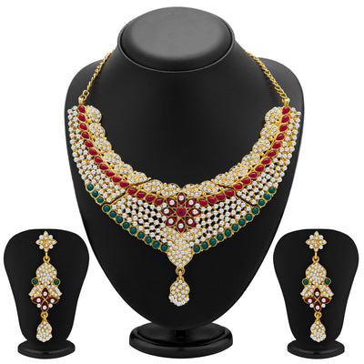Sukkhi Gracefull Gold Plated Meenakari AD Necklace Set for Women