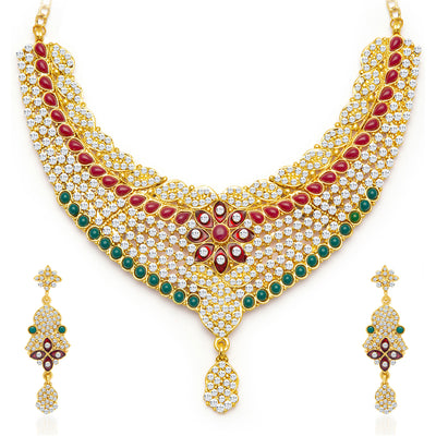 Sukkhi Gracefull Gold Plated Meenakari AD Necklace Set for Women-3