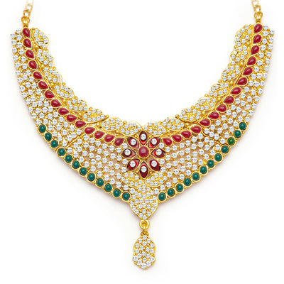 Sukkhi Gracefull Gold Plated Meenakari AD Necklace Set for Women-4