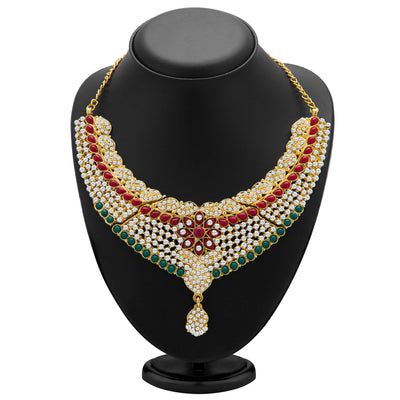 Sukkhi Gracefull Gold Plated Meenakari AD Necklace Set for Women-1