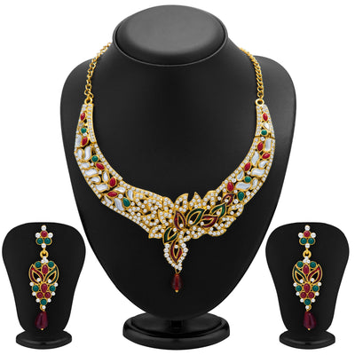 Sukkhi Sleek Gold Plated Meenakari AD Necklace Set for Women