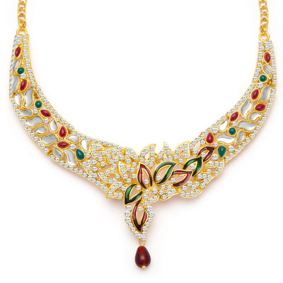 Sukkhi Sleek Gold Plated Meenakari AD Necklace Set for Women-4