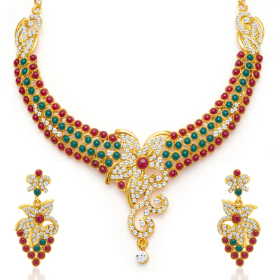 Sukkhi Briliant Gold Plated Meenakari AD Necklace Set for Women-3