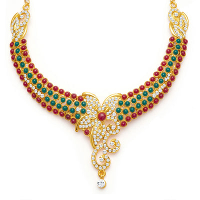 Sukkhi Briliant Gold Plated Meenakari AD Necklace Set for Women-4