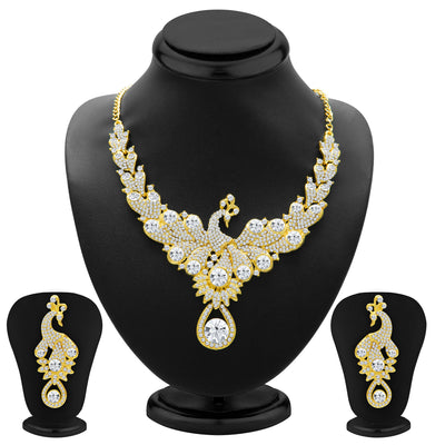 Sukkhi Exotic Peacock Gold Plated AD Necklace Set for Women-1