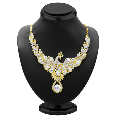 Sukkhi Exotic Peacock Gold Plated AD Necklace Set for Women-2