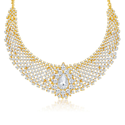 Sukkhi Incredible Gold Plated AD Necklace Set for Women-4