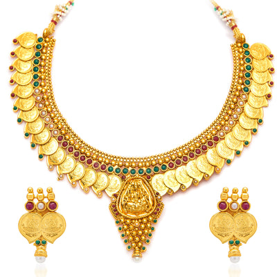 Sukkhi Graceful Gold Plated  Temple Jewellery Coin Necklace Set for Women-3
