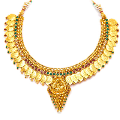 Sukkhi Graceful Gold Plated  Temple Jewellery Coin Necklace Set for Women-4