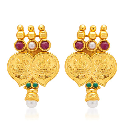 Sukkhi Graceful Gold Plated  Temple Jewellery Coin Necklace Set for Women-5