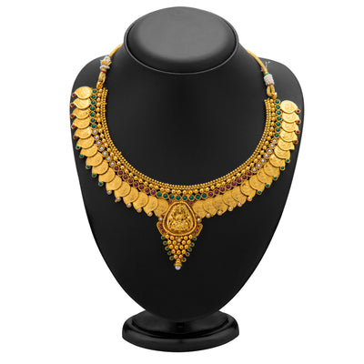 Sukkhi Graceful Gold Plated  Temple Jewellery Coin Necklace Set for Women-1