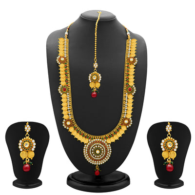 Sukkhi Glimmery Gold Plated  Temple Jewellery Coin Long Necklace Set for Women