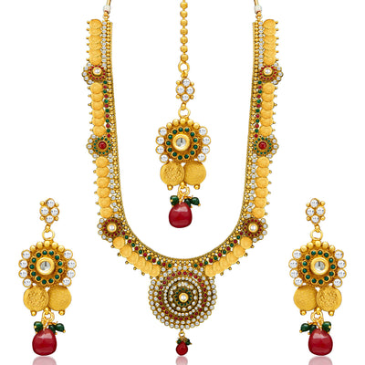 Sukkhi Glimmery Gold Plated  Temple Jewellery Coin Long Necklace Set for Women-4