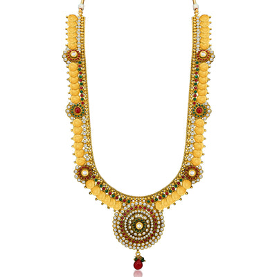 Sukkhi Glimmery Gold Plated  Temple Jewellery Coin Long Necklace Set for Women-5