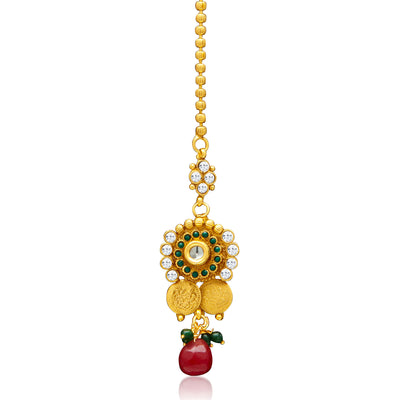 Sukkhi Glimmery Gold Plated  Temple Jewellery Coin Long Necklace Set for Women-7