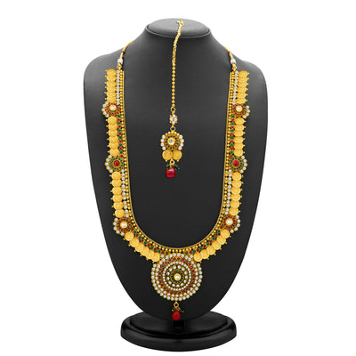 Sukkhi Glimmery Gold Plated  Temple Jewellery Coin Long Necklace Set for Women-1