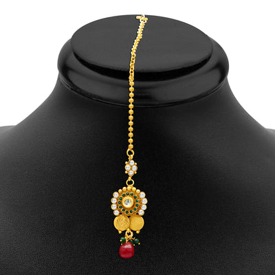 Sukkhi Glimmery Gold Plated  Temple Jewellery Coin Long Necklace Set for Women-3