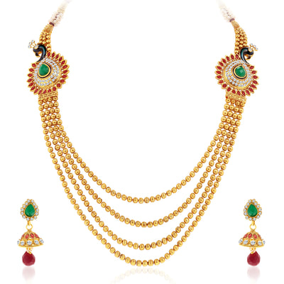 Sukkhi Youthful Peacock Gold Plated 4 String Necklace Set for Women-3