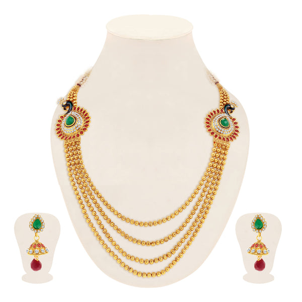 Sukkhi Youthful Peacock Gold Plated 4 String Necklace Set for Women