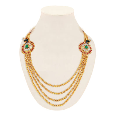 Sukkhi Youthful Peacock Gold Plated 4 String Necklace Set for Women-1