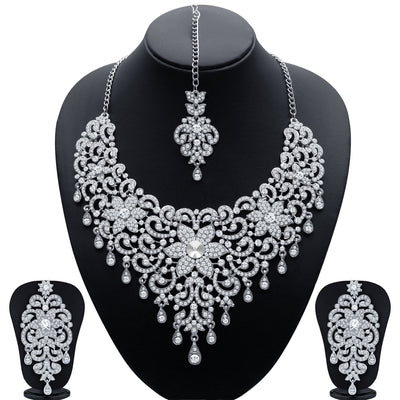 Sukkhi Traditionally Rhodium Plated AD Bridal Necklace Set for Women
