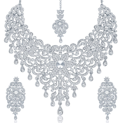 Sukkhi Traditionally Rhodium Plated AD Bridal Necklace Set for Women-4