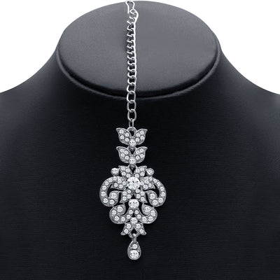 Sukkhi Traditionally Rhodium Plated AD Bridal Necklace Set for Women-3