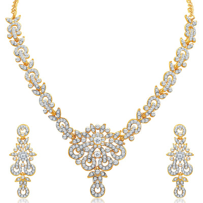 Sukkhi Stunning Gold Plated AD Necklace Set for Women-3