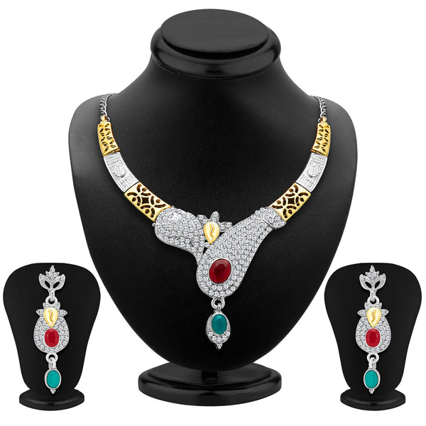 Sukkhi Glorious Gold and Rhodium Plated AD Necklace Set