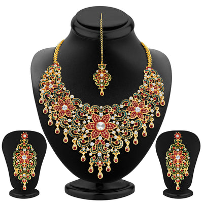 Sukkhi Wavy Gold Plated AD Necklace Set