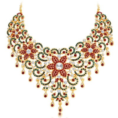 Sukkhi Wavy Gold Plated AD Necklace Set-3