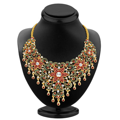 Sukkhi Wavy Gold Plated AD Necklace Set-2