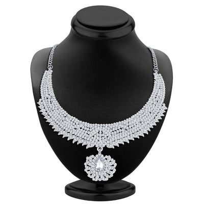 Sukkhi Ethnic Rhodium Plated AD Necklace Set-2