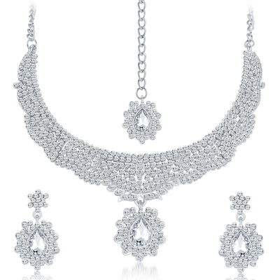 Sukkhi Charming Rhodium Plated AD Necklace Set-1