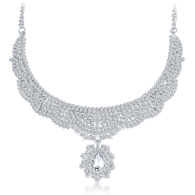 Sukkhi Charming Rhodium Plated AD Necklace Set-3