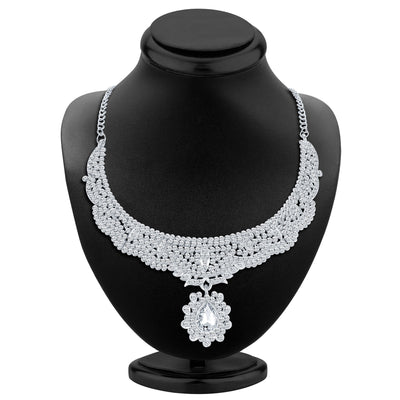 Sukkhi Charming Rhodium Plated AD Necklace Set-2