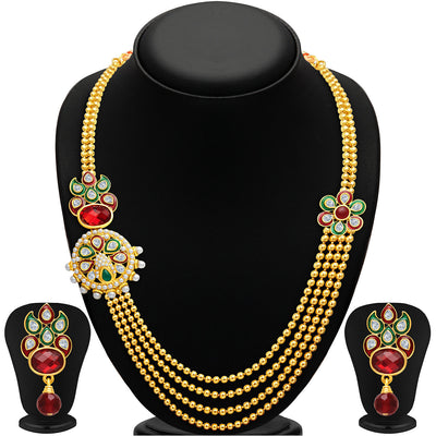 Sukkhi Splendid Four Strings Gold Plated Necklace Set