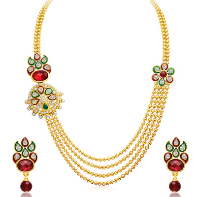Sukkhi Splendid Four Strings Gold Plated Necklace Set-1