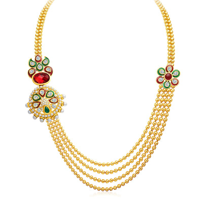 Sukkhi Splendid Four Strings Gold Plated Necklace Set-3