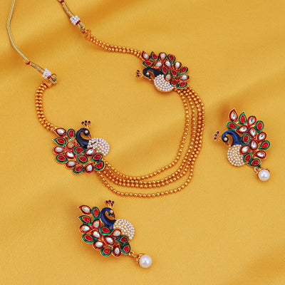 Sukkhi Gleaming Peacock Four Strings Gold Plated Necklace Set